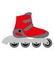 Red inline roller skate vector