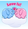 Baby elephant in love on the cloud vector