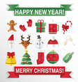 Christmas icons flat style square buttons with new vector