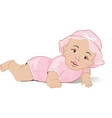 A baby girl lying on her stomach vector