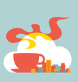 Flat style modern city with cup of coffee and vector