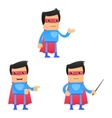 Set of funny cartoon superhero vector