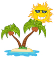 Cartoon island with two palm tree vector