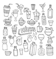 Set of different hand drawn beverages vector