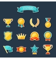 Trophy and awards stickers set vector