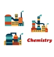 Colorful flat buildings of chemical factories or vector