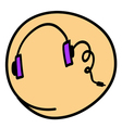 A head phone on round yellow background vector