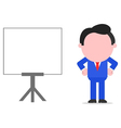 Businessman arms akimbo beside chart vector