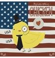 Patriotic chicken greeting card vector