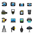 Camera icons and camera accessories black vector