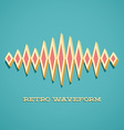 Retro card with sound waveform vector