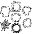 Circle floral borders sketch frames hand-drawn vector