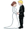 Pixel wedding couple vector