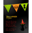 Halloween black cat party background vector