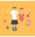 Summer vacation set of icons vector