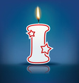 Candle letter i with flame vector