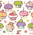Birthday muffins seamless pattern background vector