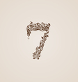 Decorated seven digit on beige vector