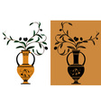 Ancient greek amphora with olive vector