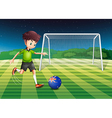 A boy kicking the ball with the flag of new vector