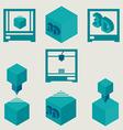 3d printer flat blue icons set vector