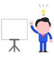 Businessman with and idea beside chart vector