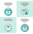New year cards with sheep in flat vector