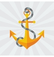 Nautical anchor with rope in flat design style vector