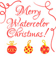 Christmas watercolor greeting card with cute hand vector