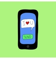 Doodle style phone with love message vector