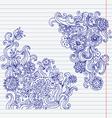 Hand-drawn doodle flower set vector