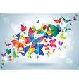 Summer background with butterflies vector