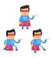 Set of funny cartoon superhero vector