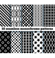 10 seamless monochrome patterns vector