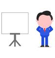 Businessman hands behind back beside chart vector