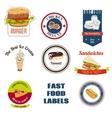 Fast food labels set vector
