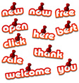 Red attached promotional stickers vector