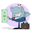 Business shark holding cash vector