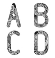 Zentangle stylized alphabet lace letters from a to vector