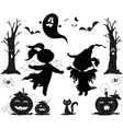 Halloween black icons for kids vector