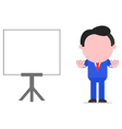 Businessman gesturing stop beside chart vector