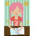 Little girl sitting at a desk and writing vector