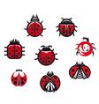 Ladybugs and ladybirds set vector