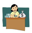 Businesswoman counting money cartoon vector