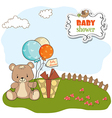 Baby shower card with cute teddy bear vector