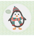 Cute penguin in textured frame design vector