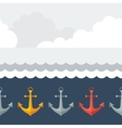 Nautical seamless pattern with anchors in flat vector