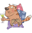 Cat and champagne cartoon vector