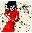 Woman in red dress vector