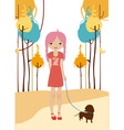 Little young girl walking with the dog vector
